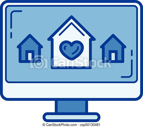 new house choice line icon new house choice vector line vector rh canstockphoto com new house clipart free new home clipart images