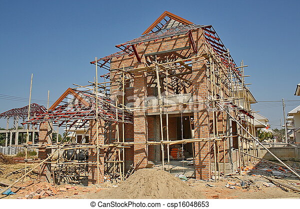 new house under construction  - csp16048653