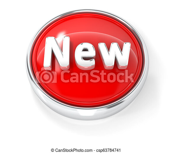 New icon on glossy red round button - csp63784741