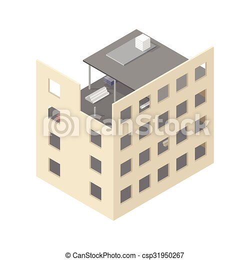 New isometric house under construction - csp31950267