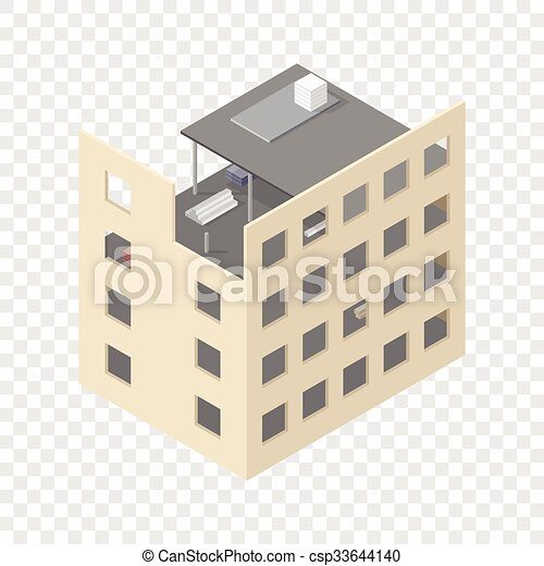 New isometric house under construction - csp33644140