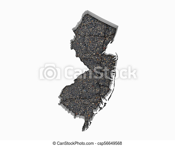 New jersey nj road map pavement construction infrastructure 3d ...