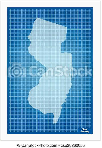 New jersey on blueprint on a white background clipart vector new jersey on blueprint csp38260055 malvernweather Choice Image