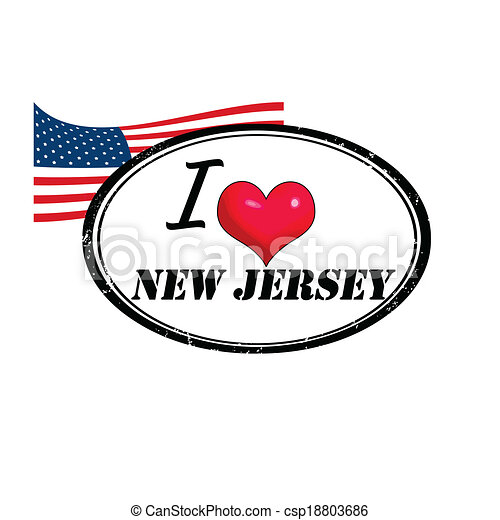 New Jersey Stamp Grunge With Text I Love Inside