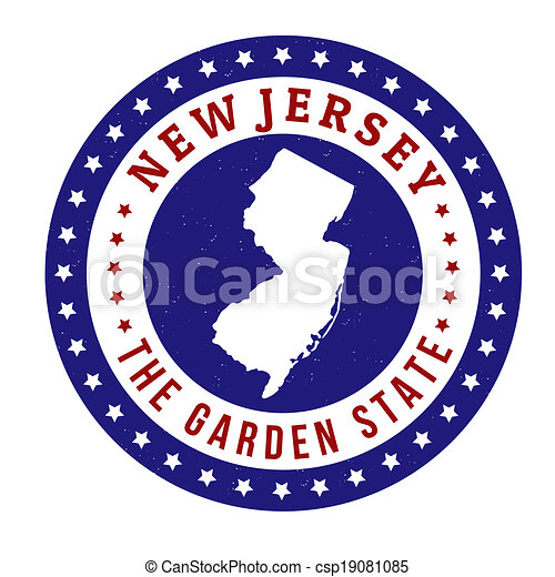 New Jersey Stamp Vintage With Text The Garden State Written
