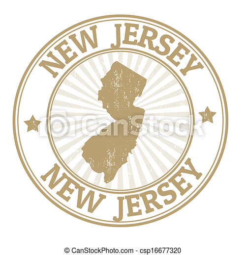 New Jersey Stamp Grunge Rubber With The Name And Map Of