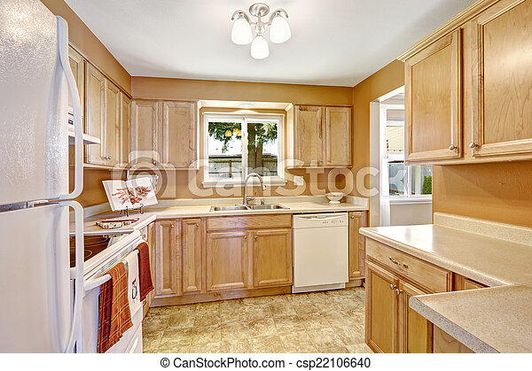 New Kitchen Cabinets With White Appliances New Wooden Kitchen Cabinets In Light Tones With White Appliances Canstock