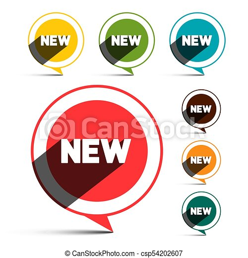 New Labels. Circle Label Isolated on White Background. - csp54202607