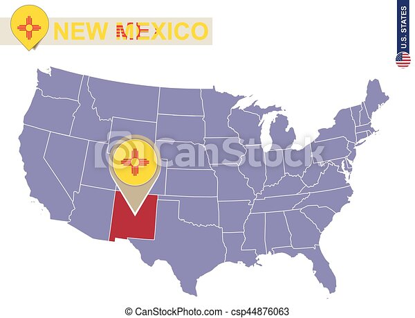 New Mexico State On Usa Map New Mexico Flag And Map Csp44876063