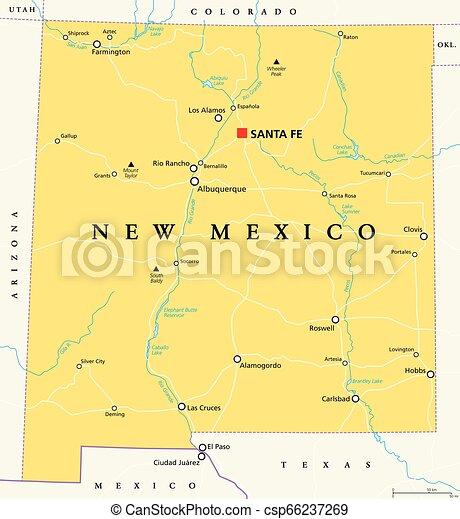 New Mexico, United States, political map
