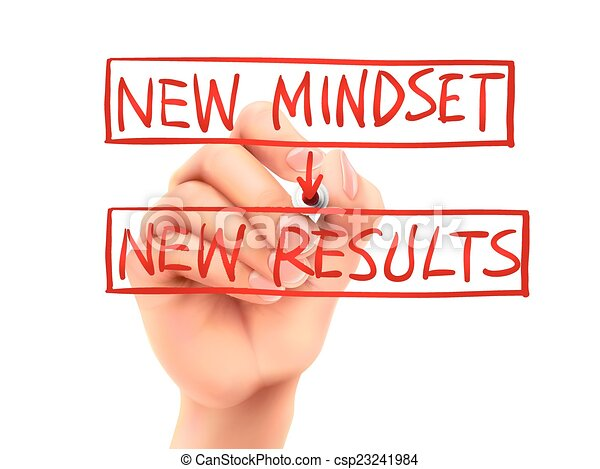 new mindset for new results words written by hand - csp23241984