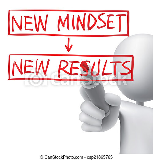 new mindset to new results written by 3d man - csp21865765