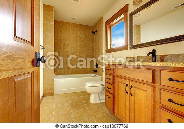 New modern beautiful bathroom in luxury home interior. - csp13077769