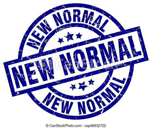 New Normal Blue Round Grunge Stamp