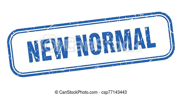 New Normal Stamp New Normal Square Grunge Blue Sign