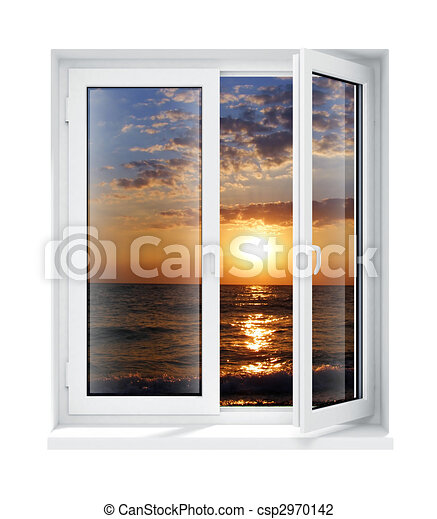New opened plastic glass window frame isolated. New opened plastic ...