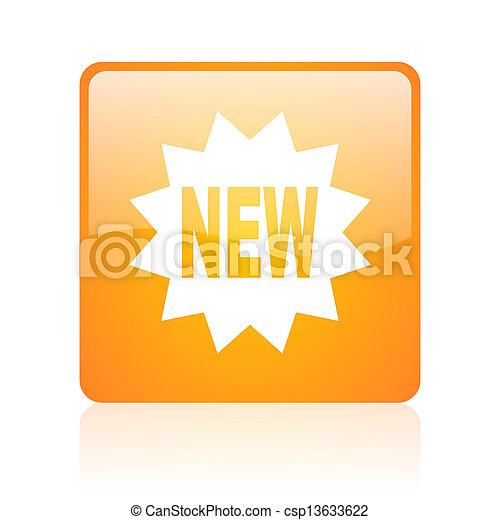 new orange square web glossy icon - csp13633622