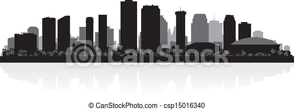 New Orleans city skyline silhouette - csp15016340