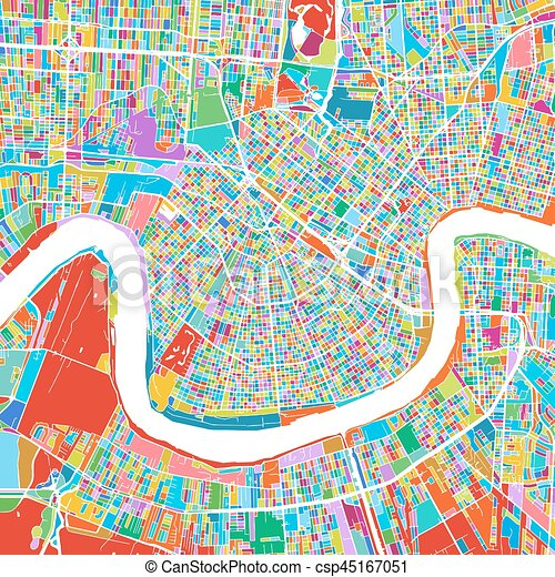 graphic relating to Printable Maps of New Orleans identified as Contemporary Orleans Vibrant Vector Map