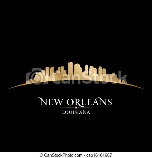 New Orleans Louisiana city skyline silhouette black background - csp16161667