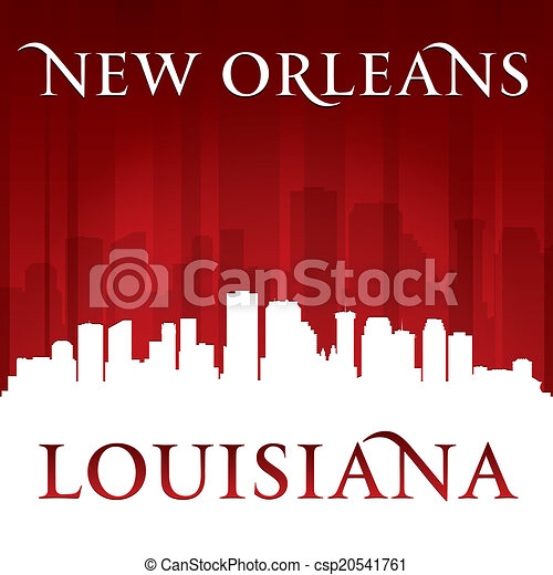 New Orleans Louisiana city skyline silhouette red background - csp20541761