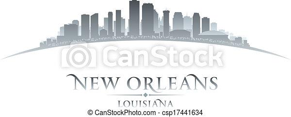 New Orleans Louisiana city skyline silhouette white background - csp17441634