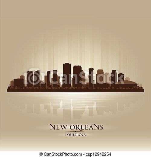 New Orleans Louisiana skyline city silhouette - csp12942254