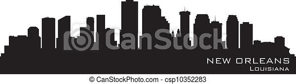New Orleans, Louisiana skyline. Detailed vector silhouette - csp10352283