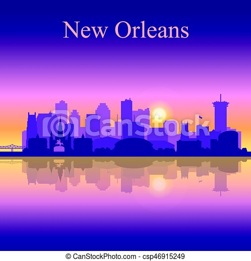 New Orleans silhouette on sunset background - csp46915249