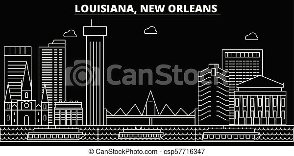 New Orleans silhouette skyline. USA - New Orleans vector city, american linear architecture, buildings. New Orleans travel illustration, outline landmarks. USA flat icons, american line banner - csp57716347