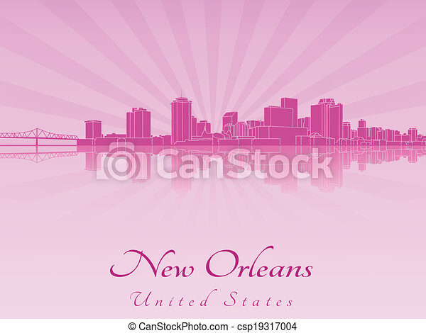 New Orleans skyline in purple radiant orchid - csp19317004