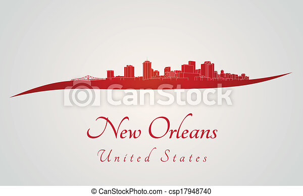 New Orleans skyline in red - csp17948740
