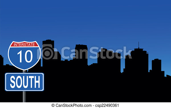 New Orleans skyline interstate sign - csp22490361