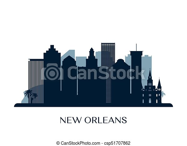 New Orleans skyline, monochrome silhouette. - csp51707862