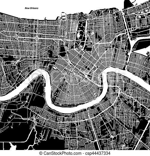 New orleans vector map artprint black landmass white water and roads