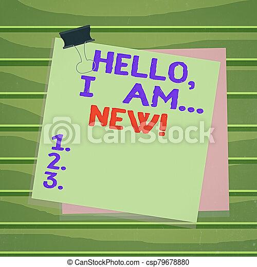 new., plano de fondo, saludo, conversación, hola, texto, mano, conceptual, teléfono, clip, escritura, papel, comenzar, memo., empresa / negocio, o, pegado, utilizado, foto, colorido, actuación, carpeta, recordatorio - csp79678880