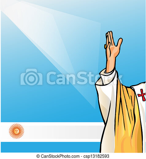 new pope with argentina flag - csp13182593