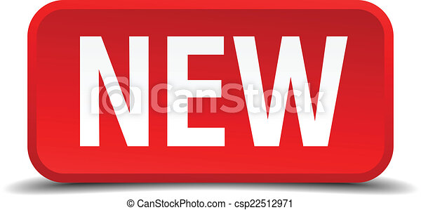 New red 3d square button isolated on white - csp22512971