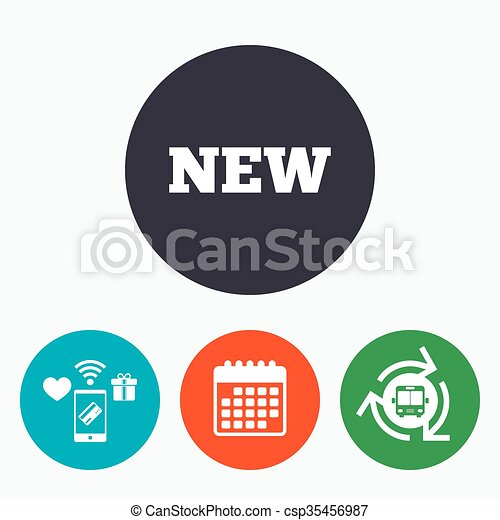 New Sign Icon New Arrival Button New Sign Icon New Arrival Button Symbol Mobile Payments Calendar And Wifi Icons Bus