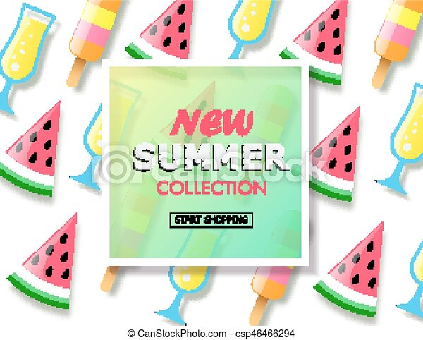 Summer Sale Background With Colorful Ice Cream Slice Watermelon And Cocktail Vector Illustration Template Banners Wallpaper Flyers Invitation Posters