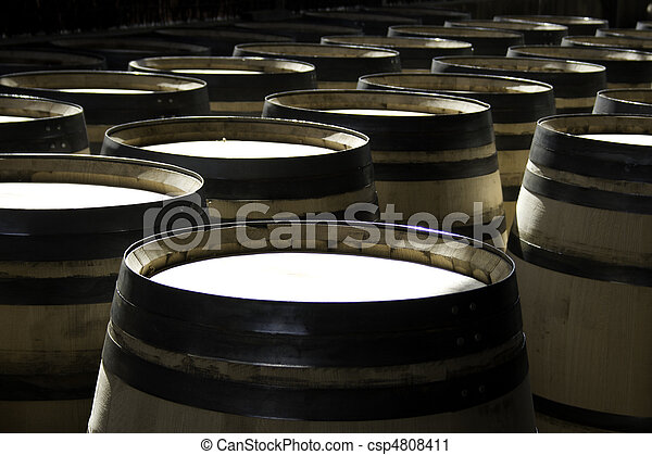 New wine barrels stored in rows - csp4808411