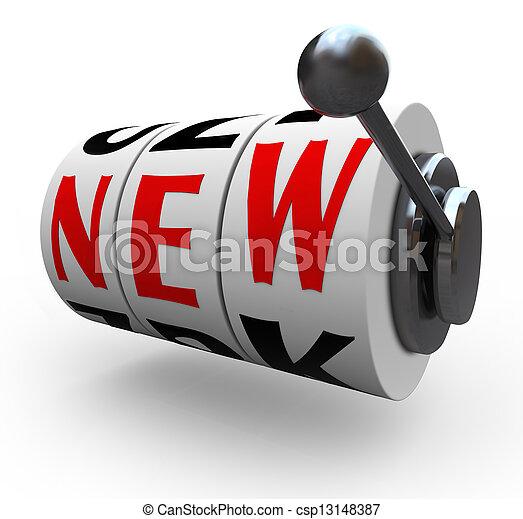 New Word Slot Machine Wheels Innovation Change - csp13148387