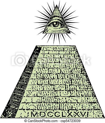 One Dollar Pyramid Illuminati Symbols Bill Masonic Sign All Seeing Eye Vector