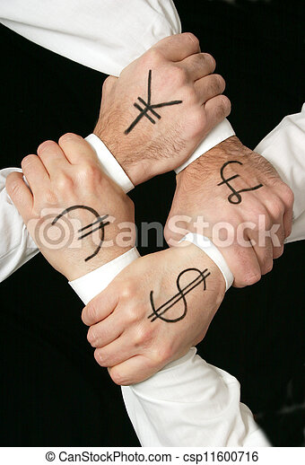 New World Order Hands Grabbed Together With Money Symbols