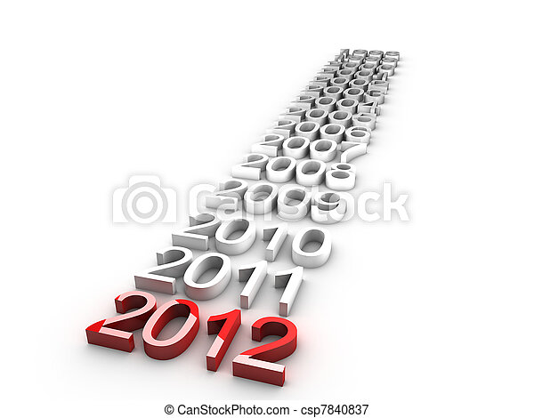 new year 2012 over white background - csp7840837