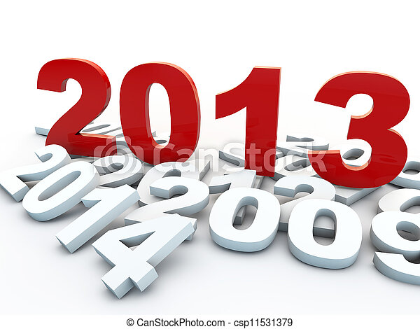 new year 2013 over white background - csp11531379