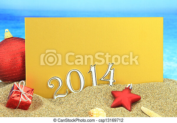 New year 2014 card on the beach - csp13169712