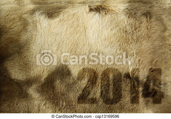 New year 2014 on fur texture - csp13169596
