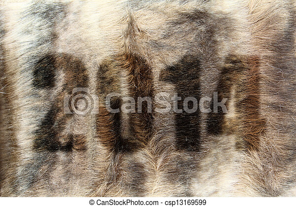 New year 2014 on fur texture - csp13169599
