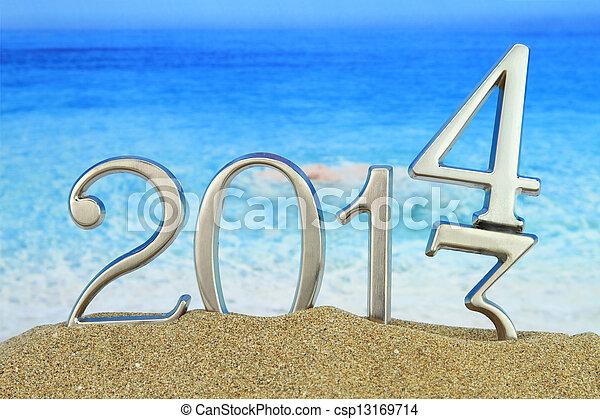 New year 2014 on the beach - csp13169714